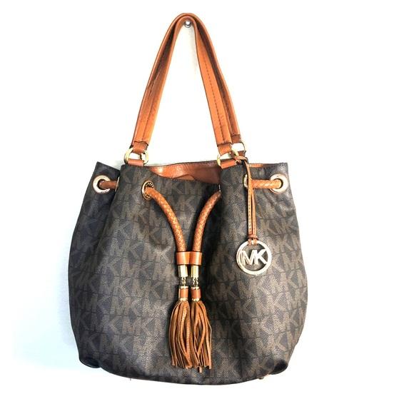 Michael Kors Handbags - Michael Kors Monogram Braided Bucket Bag
